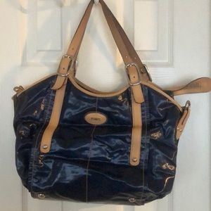 Navy Tod's Purse with Tan Accents